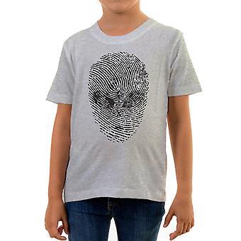 Reality glitch alien face thumbprint kids t-shirt