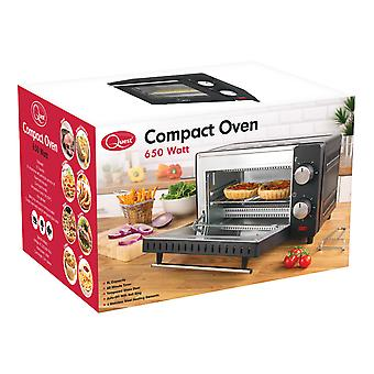 Quest Quest 35409 9 Litre Mini Oven and Grill, 100-230°, 60 min Timer Auto Shut Off, 650W, Black