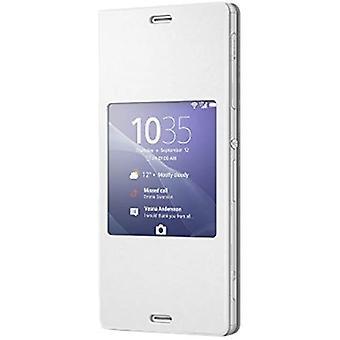 Sony Hülle Case Cover mit Fenster Window Kompatibel mit Xperia Z3 Smartphone - Weiß