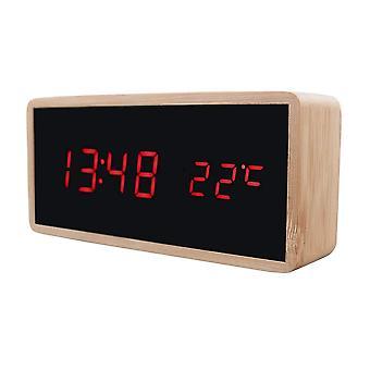 Despertador digital com design de madeira - Vermelho