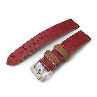 Strapcode crocodile grain watch strap 20mm miltat antipode watch strap matte red crococalf in tan hand stitches