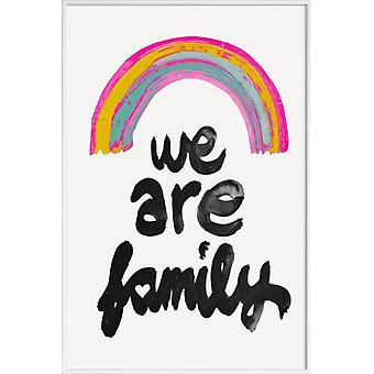 JUNIQE Print - We Are Family - Birth & Baby Poster in Pink & Black