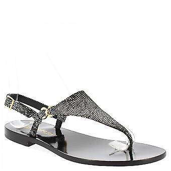 Leonardo Shoes Women's handgemaakte slingback lage string sandalen zwart suède leer
