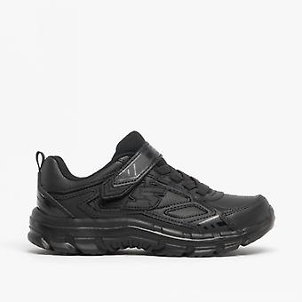 Skechers Nitrate Microblast Kids Leather Trainers Black