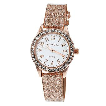 Thomas Calvi Ladies Analogue White Dial Clear Rhinestone Bezel Rosegold Tone Glitter Plastic Strap Watch TCW235C