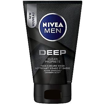 Nivea Men Deep Clean Face & Beard Wash Con Carbone Attivo, 100 ml