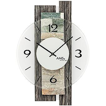 AMS 9544 wall clock quartz analog modern grey wood look with natural stone and glass