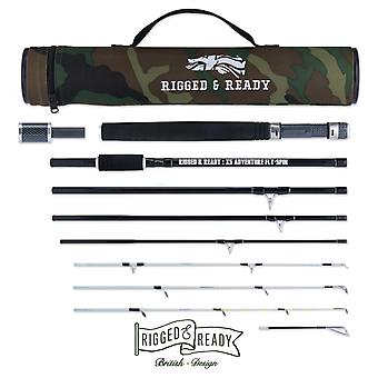 X5 Spin-Cast-Bait-Fly Travel Fishing Rod and Case. 5 Rods in 1