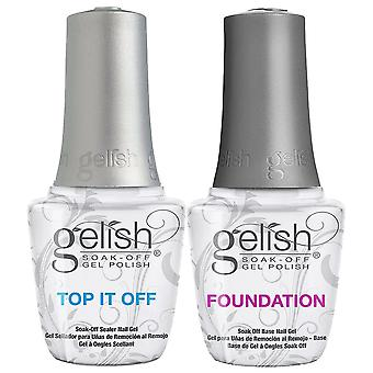 Gelish Soak Off Gel Polish - Essential Nails Duo Set - Top It Off (Topcoat) & Foundation (Base Coat) (2 X 15ml)