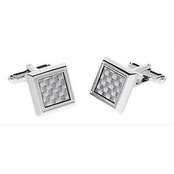 Duncan Walton Edger Carbon Fibre Cufflinks - Silver/White
