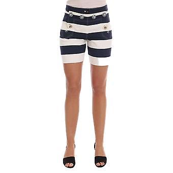 Dolce & Gabbana White Blue Striped Crystal Shorts -- SKI1186096