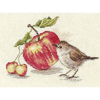 Alisa Cross Stitch Kit - Bird and an Apple