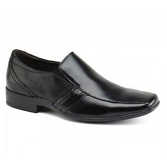 Front Craddock Mens Leather Chisel Slip-on Shoes Black