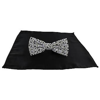 Michelsons of London Contast Floral Bow Tie and Plain Pocket Square Set - Black