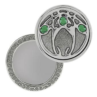 Orton West Compact Mirror - Silver/Green