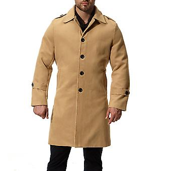 Manteau Long One-Breasted Trenchcoat solide Cloudstyle hommes