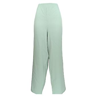 Bob Mackie Women's Plus Pants Woven Crepe Pull-On Green A303006