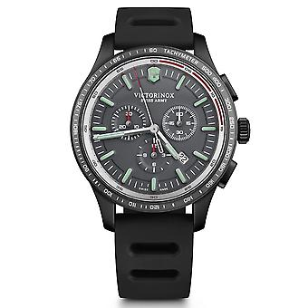 Victorinox Alliance Sport Chronograph taquímetro preto pulseira de borracha genuína Mens Watch 241818 44mm