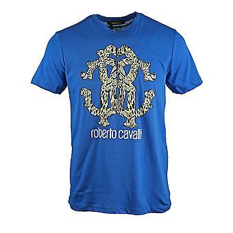 روبرتو كافالي ثعبان كبير جلد كريست الأزرق تي شيرت