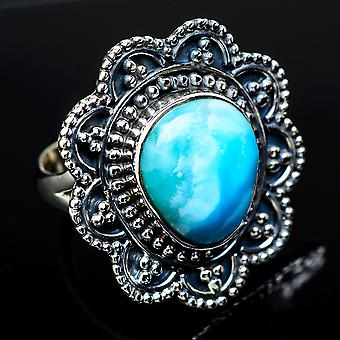 Larimar Ring Size 7.5 (925 Sterling Silver)  - Handmade Boho Vintage Jewelry RING11937