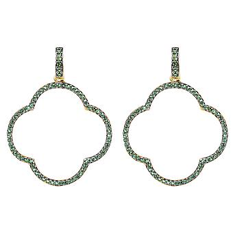 Large Open Clover Drop Earrings Green Statement Big Party 925 Gold Silver CZ VC