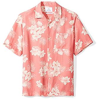 28 Palms Men's Relaxed-Fit Silk/Linen Tropical Hawaiian Shirt, Washed Red Vin...