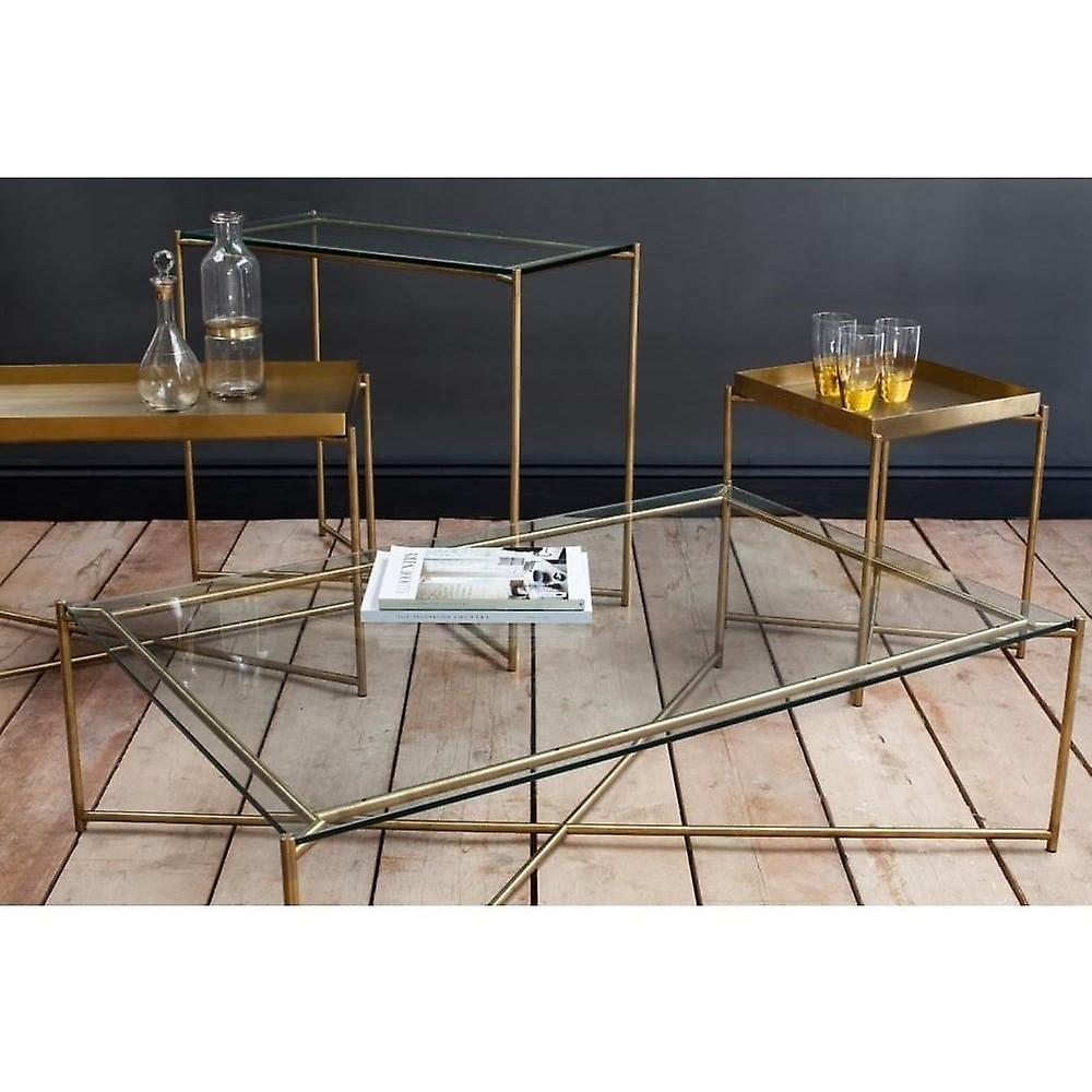 Gillmore Clear Glass Rectangular Side Table With Brass Cross Base