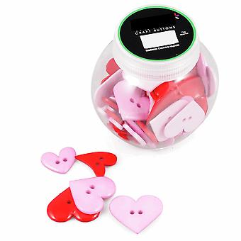 75g Mixed Size and Shade Buttons for Crafts - Pink & Purple Hearts