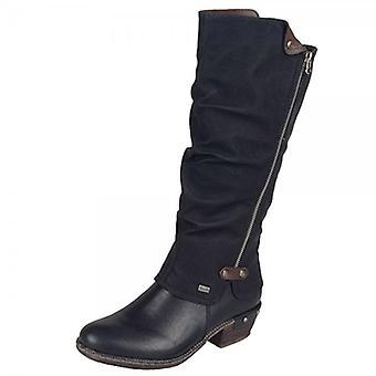 Rieker 93655-00 Bernadette Riekertex Fashion Long Boots In Black