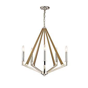 Inspirerte Diyas - Hilton - Pentagonal Caged Ceiling Anheng 5 Lys E14 Polert Nikkel, Taupe Wood