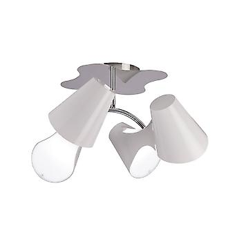 Inspiriert Mantra - Ora - Decke 2 Arm 4 Licht E27, Glanz weiß, weiß Acryl, poliert Chrom