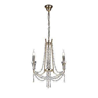 Pendentif chandelier de plafond 3 lumière E14 Français Or, Cristal