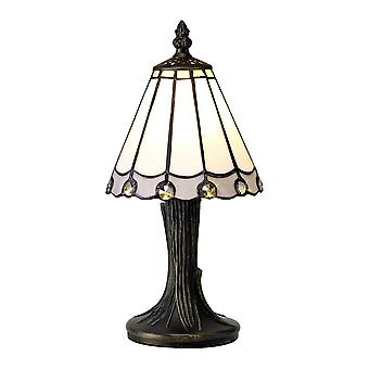 Tiffany Table Lamp, 1 x E14, White, Grey, Clear Crystal Shade