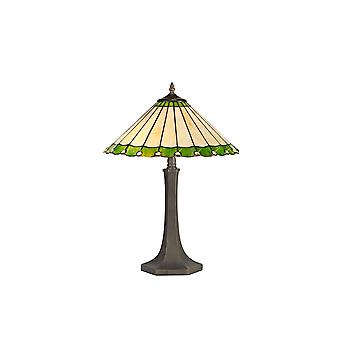 Éclairage Luminosa - 2 lampe de table octogonale légère E27 avec 40cm Tiffany Shade, Vert, Cristal, Laiton Antique Vieilli
