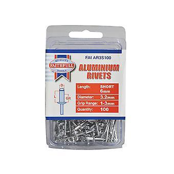 Faithfull Aluminium Rivets 3.2mm x 6mm Short Pre-Pack of 100 FAIAR3S100