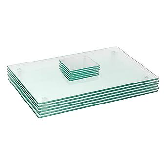 12 Piece Glass Placemats and Coasters Set - 40 x 30cm - Clear