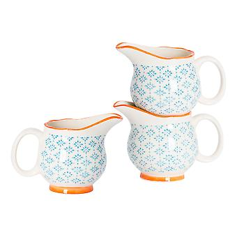 Nicola Spring 6 Piece Hand-Printed Milk Jug Set - Japanese Style Porcelain Cream Gravy Boat - Blue - 300ml