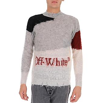 Off-white Omhe062f20kni0011016 Männer's Grau Wolle Pullover
