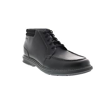 Clarks Rendell Rise  Mens Black Wide Leather Lace Up Chukkas Boots