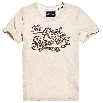 Superdry The Real Sequin Entry Tee - Oatmeal Marl