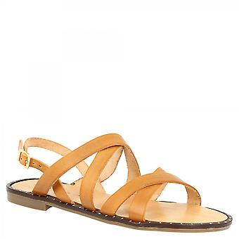 Leonardo Shoes Femmes'sandales à fronde plates faites à la main en cuir de veau bronzé avec bretelles croisées
