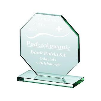 Trofeo de vidrio grabado