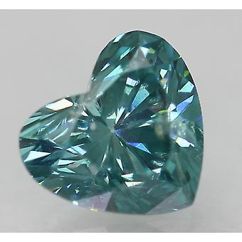 Cert 0.35 قيراط أزرق أخضر SI1 القلب المحسن الماس الطبيعي 4.83x4.33mm