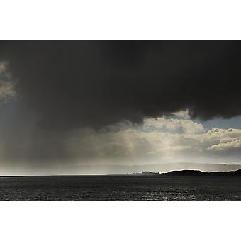 Rain falling from ominous dark clouds over the water Otter Ferry Scotland PosterPrint