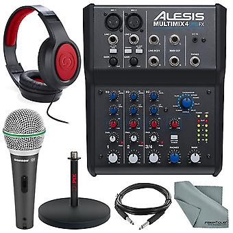 Alesis multimix 4 usb fx 4-channel mixer & usb audio interface deluxe bundle w/ microphone + headphones + cables + mic stand +