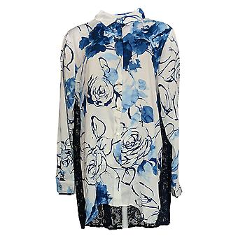 Dennis Basso Women's Top Printed Woven Sheer Lace Back Blue A376930