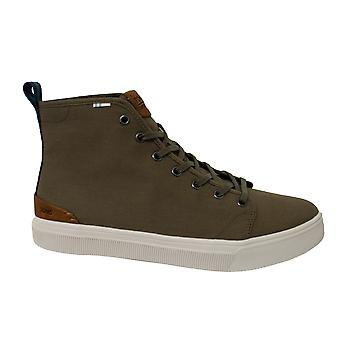 Toms Travel Lite High Olive Camo Canvas Lace Up Mens Trainers 10012513