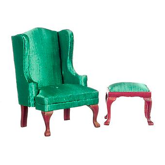 Dolls House Miniature Furniture Queen Anne Emerald Wingback Chair Armchair Stool