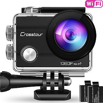 "Crosstour wifi action camera full hd 1080p waterproof cam 2"" lcd screen 98ft underwater 170° wide-a"