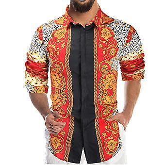 YANGFAN Men's gedruckt langärmelige Colorblock Shirt